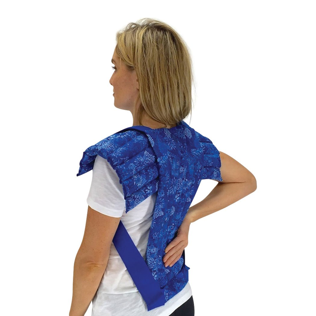 Set of Upper Body + Spine & Back Pack - Microwavable Heating Pads for Neck, Shoulder, Back, Abdominal Pain & Stress Relief by Nature Creation (Blue Flowers) by Nature Creation
