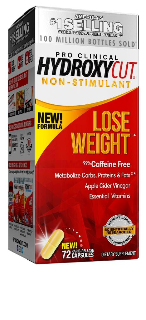 Hydroxycut Pro Clinical Non-Stimulant Weight Loss Supplements with Apple Cider Vinegar, Metabolize Carbs, Fats, Proteins, 72 Pills by Hydroxycut (Image #1)