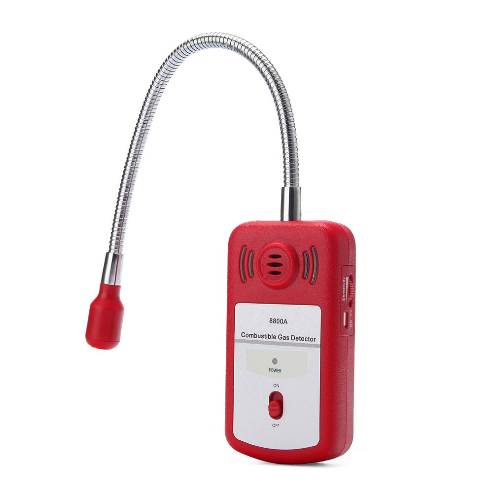 Zoostliss Sensitive Gas Analyzer Combustible Gas Detector Portable Gas Leak Location Determine Tester with Sound Light Alarm