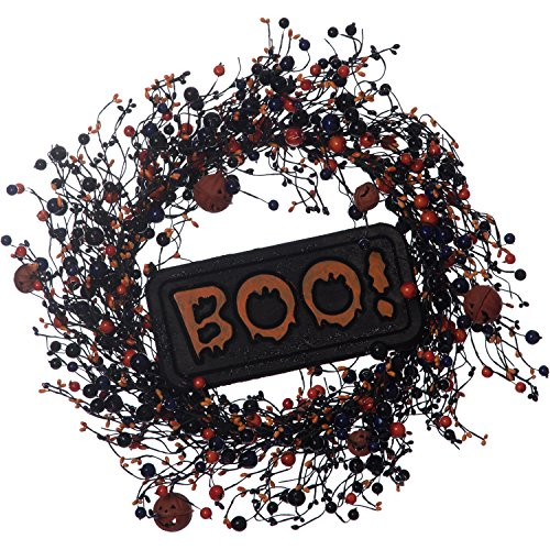 One Holiday Way 22-Inch Spooky Boo Halloween Wreath with Orange and Black Berries - Hanging Halloween Decoration