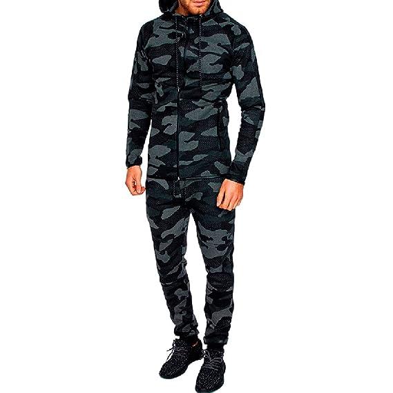 8dffaa29d76 Msliy Survetement Homme Ensemble Tenue de Sport 2 Pièces Sweat Capuche+Pantalon  Sweatshirt Top Camouflage