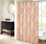 Orange Shower Curtain Comfort Spaces – Coco Shower Curtain – Orange and Taupe – Printed Damask Pattern- 72x72 inches