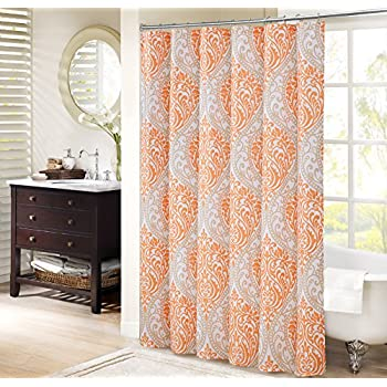 orange and brown shower curtain. Comfort Spaces  Coco Shower Curtain Orange and Taupe Printed Damask Pattern 72x72 Amazon com InterDesign Marigold Fabric Red