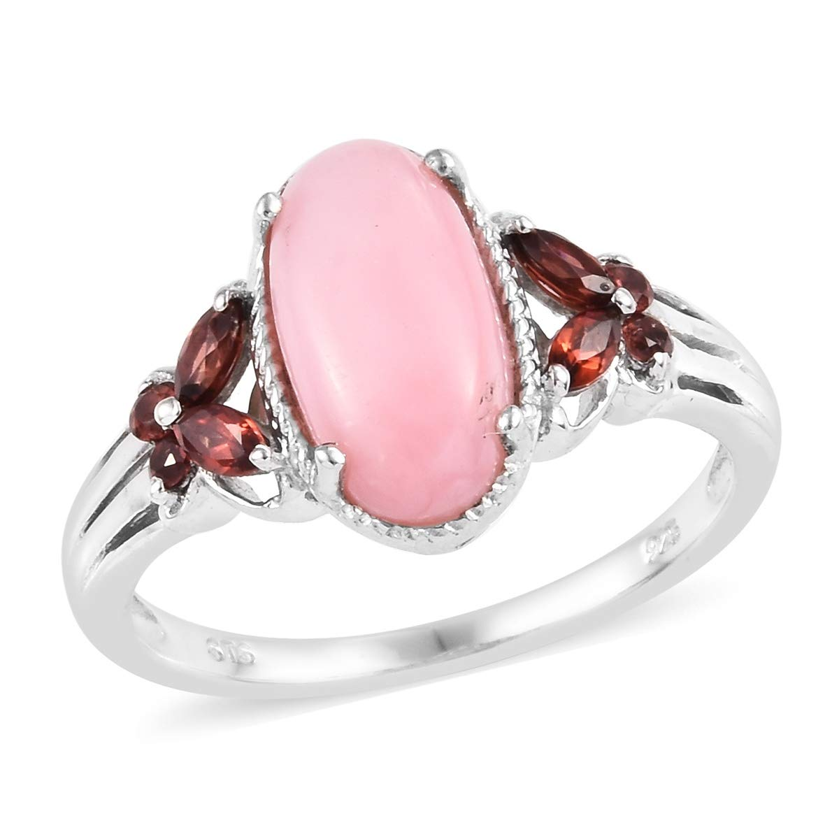 Pink Opal Garnet Ring 925 Sterling Silver Platinum Plated Jewelry for Women Size 8