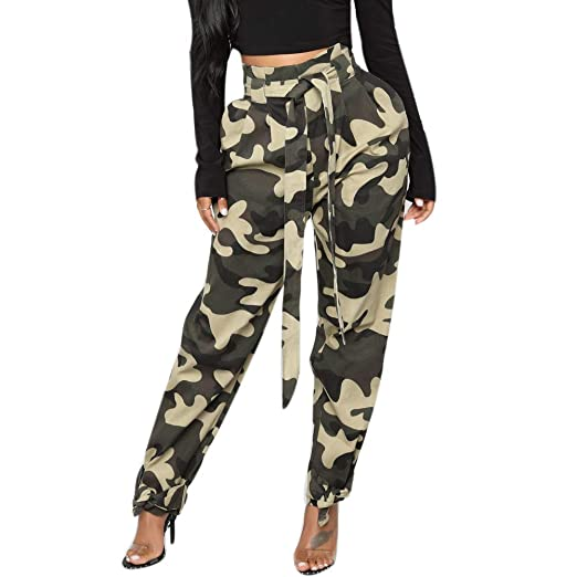 1c0f21581e0e5 Women Fashion Camo Cargo Pants Casual Military Army Elastic Waist  Camouflage Pants