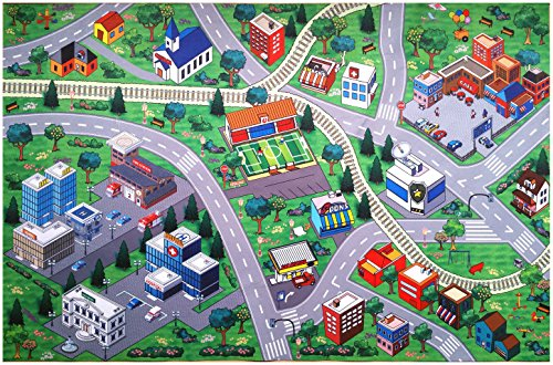 Silli Me Play Mat Soccer Field and Town with Roads and Train Tracks