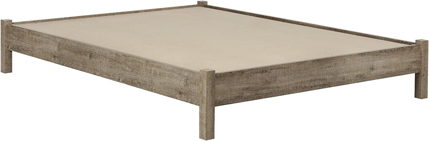 South Shore Munich Platform Bed on Legs, Queen 60-Inch, Weathered Oak and Matte Black