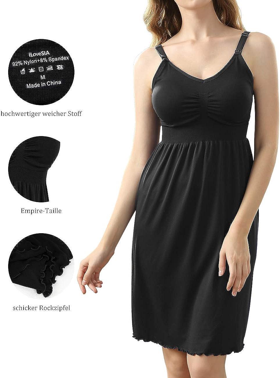 iloveSIA Damen Stillkleid Ohne B/ügel Stillnachthemd Nachthemd mit Stillfunktion