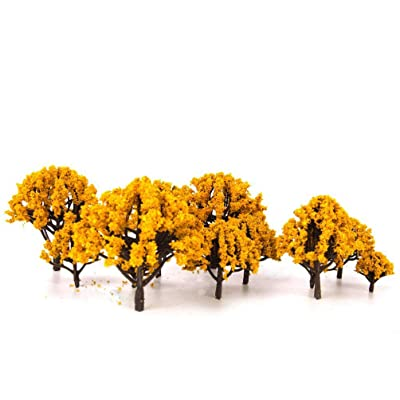 BESPORTBLE 20pcs Model Trees Fake Plastic Train Trees Railroad Scenery Architecture Trees for DIY Micro Landscape Bonsai 3CM-8CM (Orange): Home & Kitchen