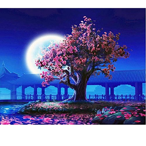 SUBERY DIY Oil Painting Paint by Numbers Kits for Adults Kids Beginner - Peach Pavilion in the evening 16x20 inches (Frameless)
