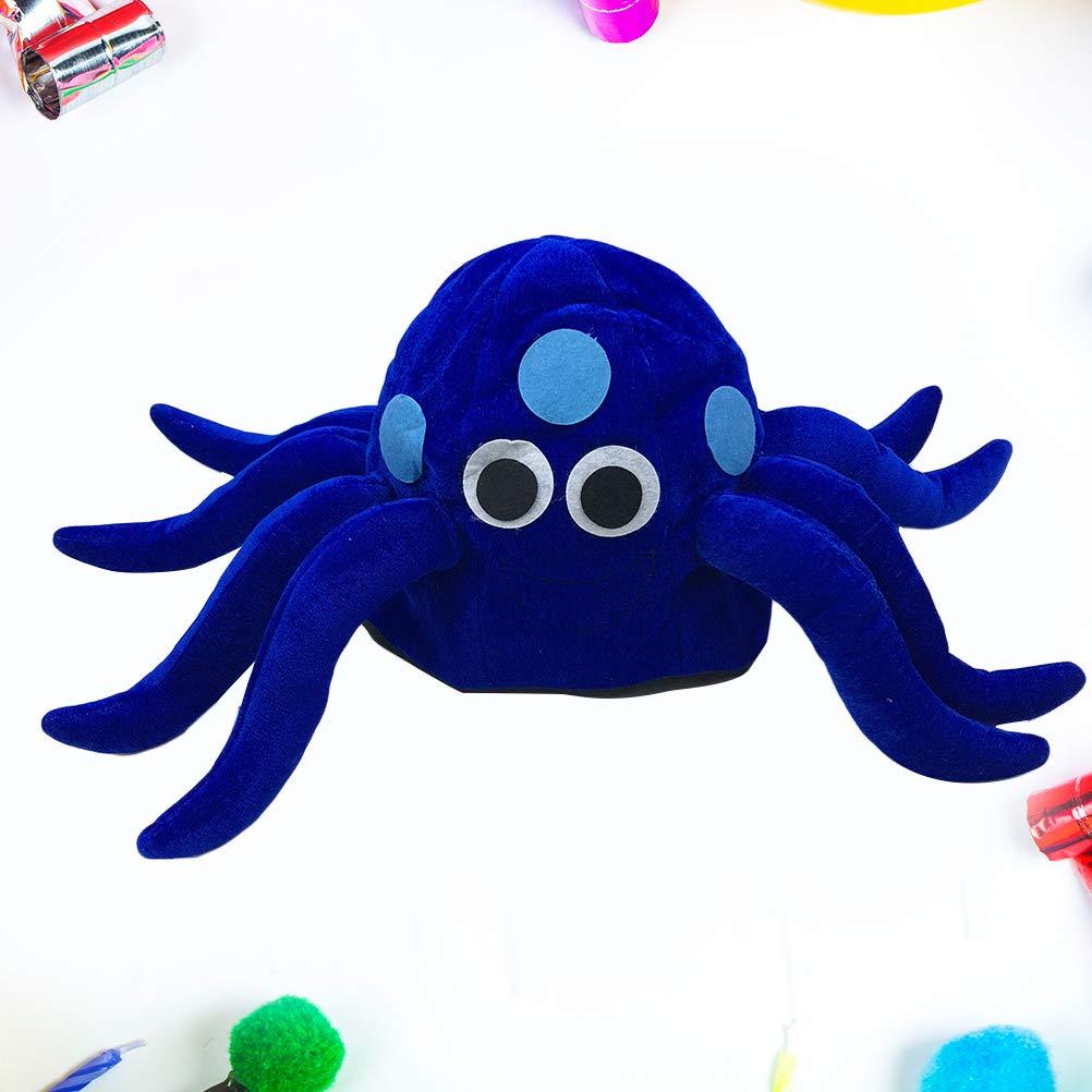 Blau Amosfun Krake Hut Pl/üsch Krake M/ütze f/ür Karneval Party Tiere Kost/üm M