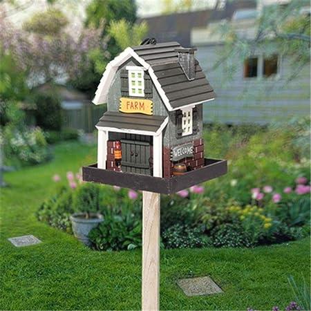 Pajareras Alimentador de pájaros de madera al aire libre Decoración creativa vertical Alimentador de pájaros al aire libre Granja Patio Jardín Cabañas Casa de pájaros for cabaña de pájaros pequeña Bir: Amazon.es: