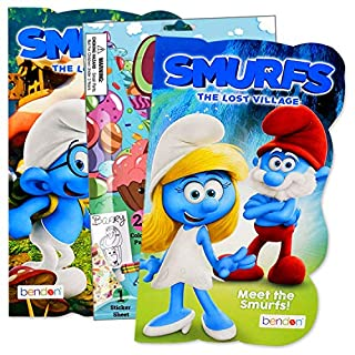 Primary Colors Shaped Board Book Set for Early Readers Bundle Includes Separately Licensed Activity Pack with Stickers Crayons and Learning to Read Bookmark for Kids (Smurfs)