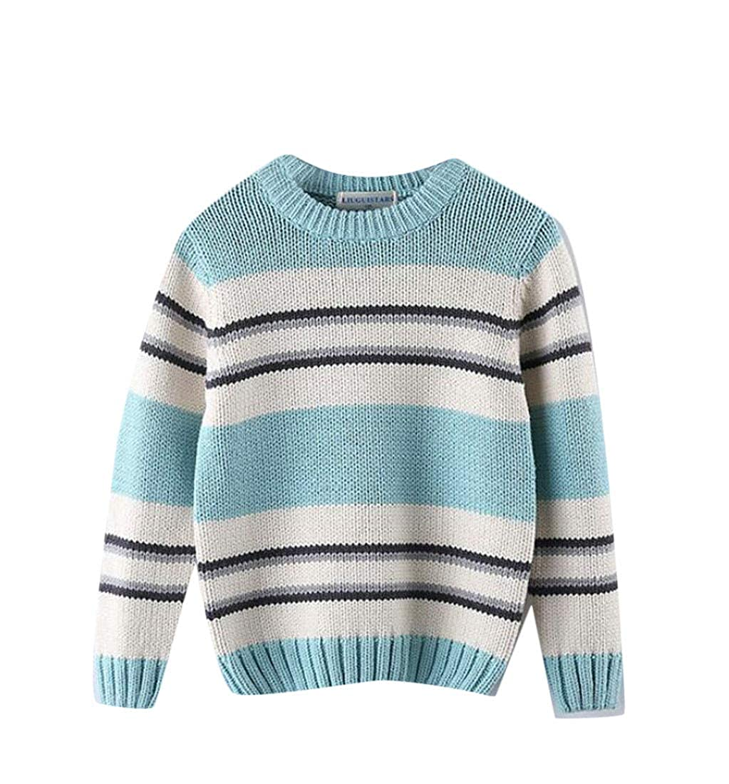 Wofupowga Boys Cute Knitted Thick Fashion Striped Pullover Sweater