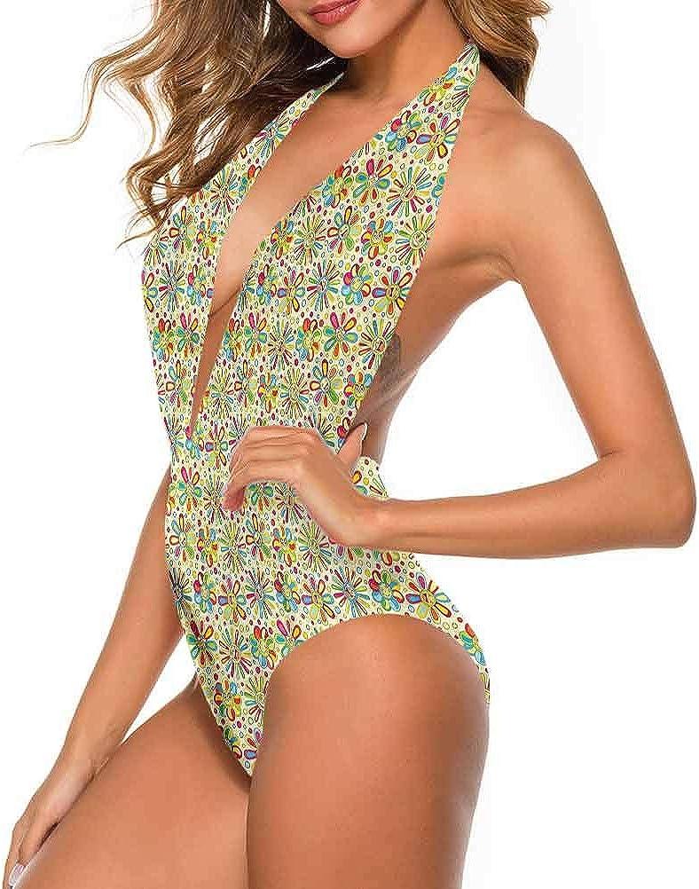 Adorise Maillot de bain à motif floral à pois circulaires pour tous les types de corps Multi 26.