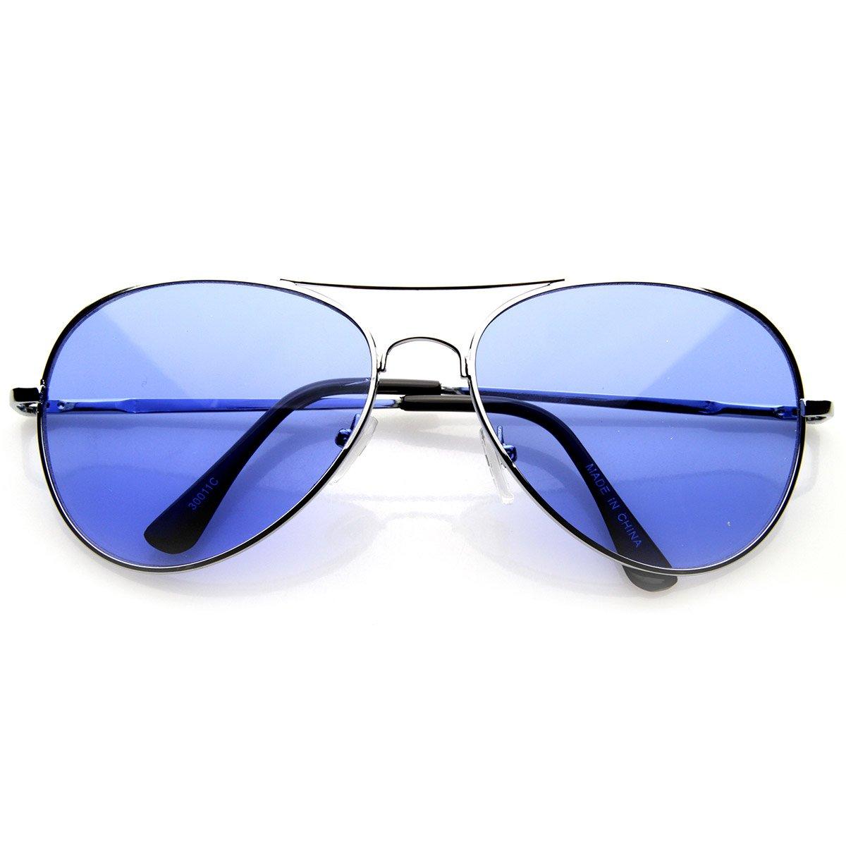 3f1a54784147 Amazon.com  Colorful Premium Silver Metal Aviator Glasses with Color Lens  Sunglasses (Blue)  Shoes