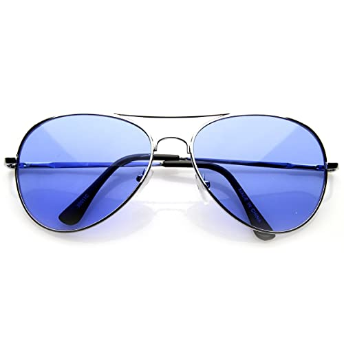 bfe63180287cc Image Unavailable. Image not available for. Color  Colorful Premium Silver  Metal Aviator Glasses with Color Lens Sunglasses (Blue)