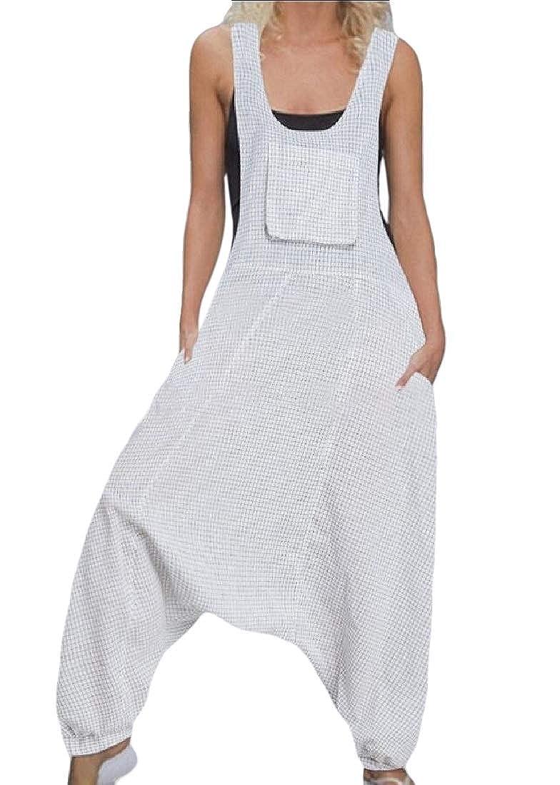 HTOOHTOOH Womens U Neck Sleeveless Baggy Long Jumpsuits with Pockets