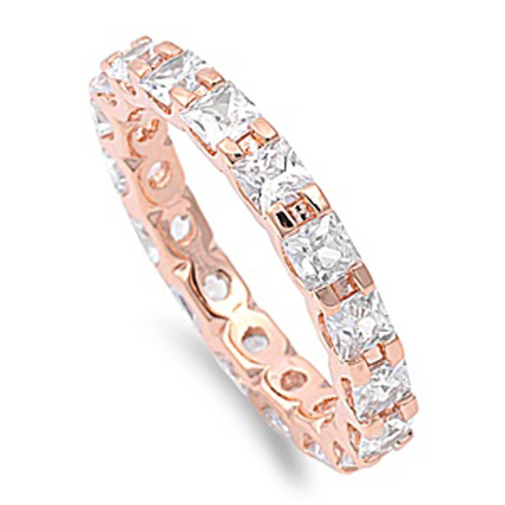 Sterling Silver 14K Rose Gold Plated Princess CZ Rose Tone Eternity Ring Band 3MM ( Size 4 to 12 ), 10