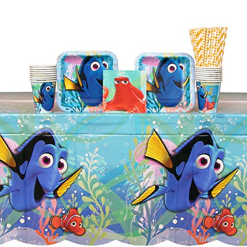 Movie Night Beverage Napkins - Finding Dory Party Supplies Pack for 16 Guests Includes: Straws, Dessert Plates, Beverage Napkins, Cups, and Table Cover