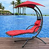 Sundale Outdoor Dream Chair with Umbrella Hanging Chaise Lounge Chair Arc Curved Hammock (Red)