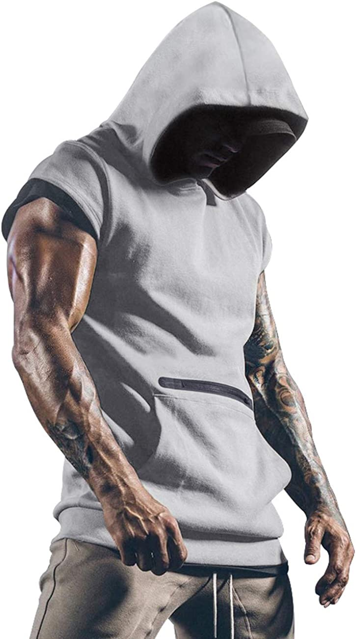 Mens Workout Tank Tops with Hood Sleeveless Gym t-Shirt Muscles Tees Athletic Pockets