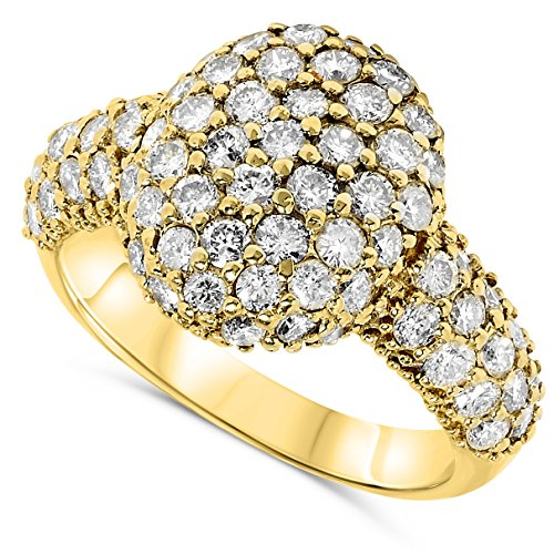 2 Carat 18k Yellow Gold Diamond Studded Oval Dome Designer Cocktail Ring.