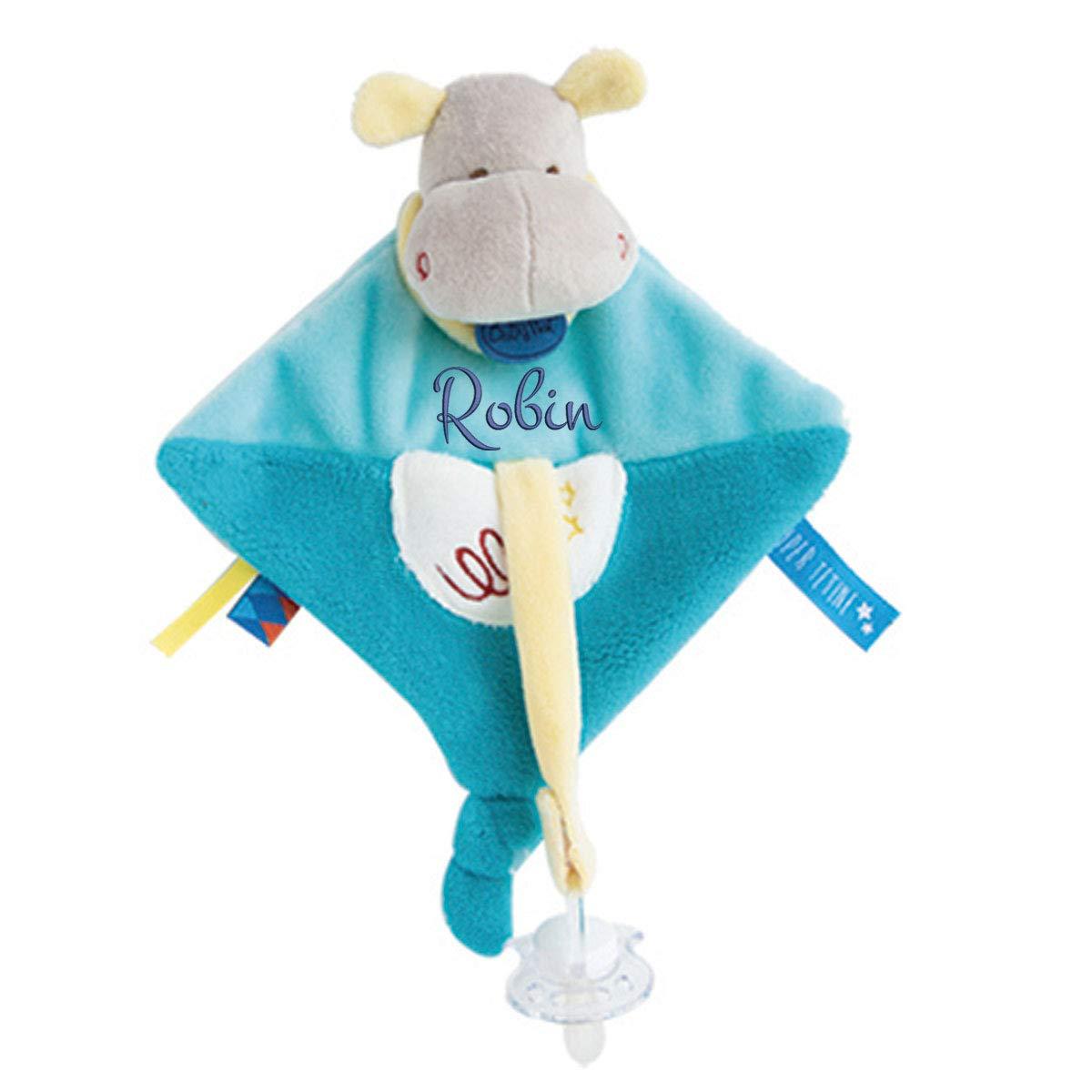 Doudou Hippo attache porte tétine à broder avec prénom- cadeau liste de naissance - cadeau personnalisé naissance - cadeau personnalisé bébé