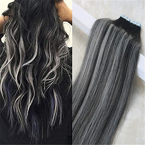 20pcs 50g Remy Extensions Tape in Human Hair Seamless Skin Weft #1B Off Black Highlighted with Silver Color Balayage Extensions Human Hair Full Head Set Glue on Hair(14″, 1B/Silver/1B) For Sale