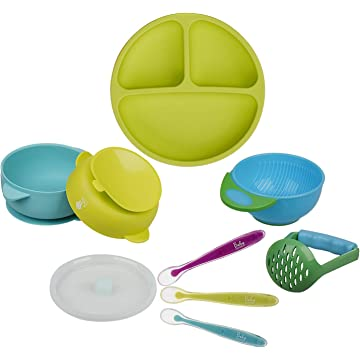 Baby Toddler Feeding Set - BPA Free Silicone Plates Bowls Spoons - Divided Plate Suction Bowl Soft Spoon Bonus Mash and Serve Bowl- Self Feed, Easy Clean,Safe for Children, Waterproof Spill Resistant