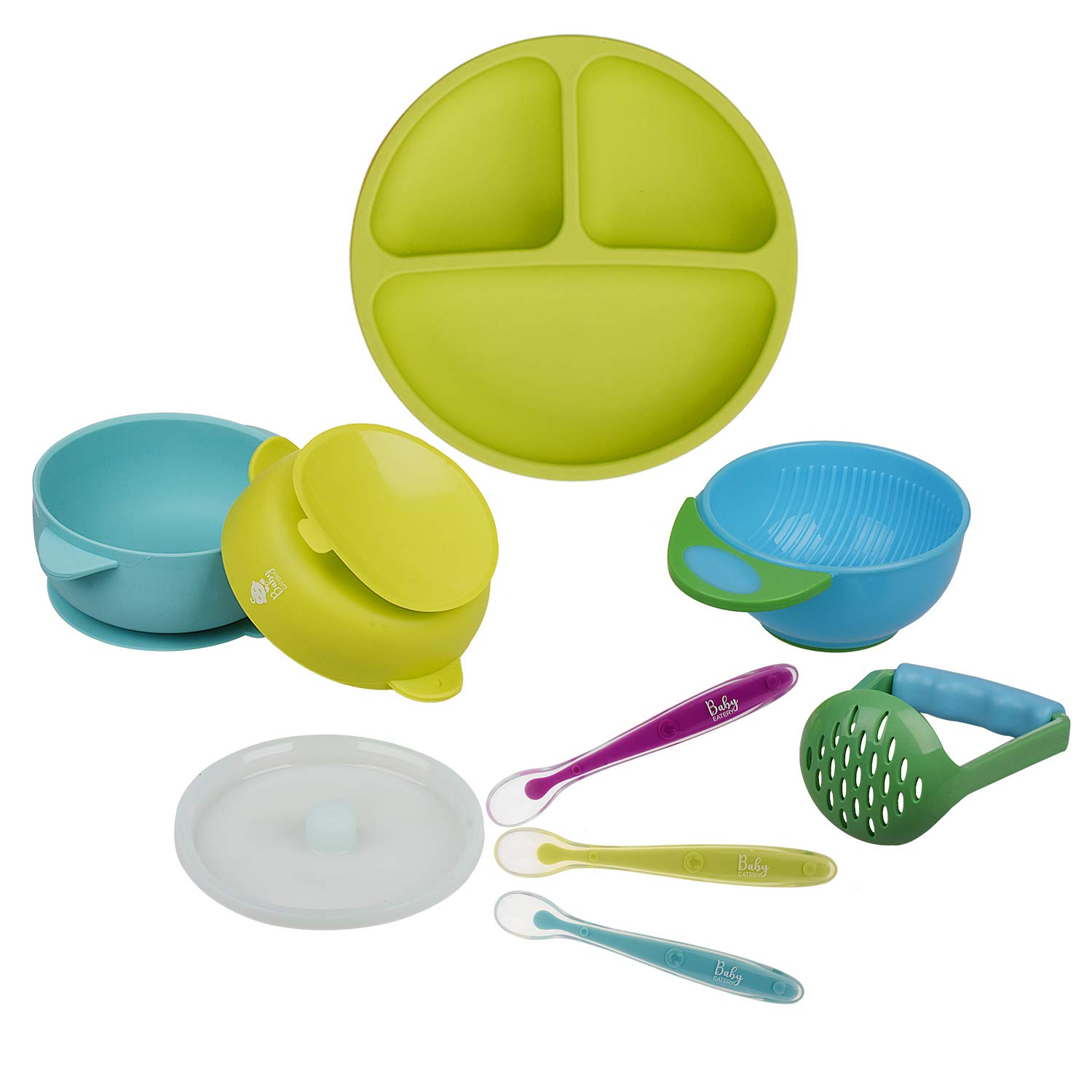 Baby Toddler Feeding Set - BPA Free Silicone Plates Bowls Spoons - Divided Plate Suction Bowl Soft Spoon Bonus Mash and Serve Bowl- Self Feed, Easy Clean,Safe for Children, Waterproof Spill Resistant by BabyEatery