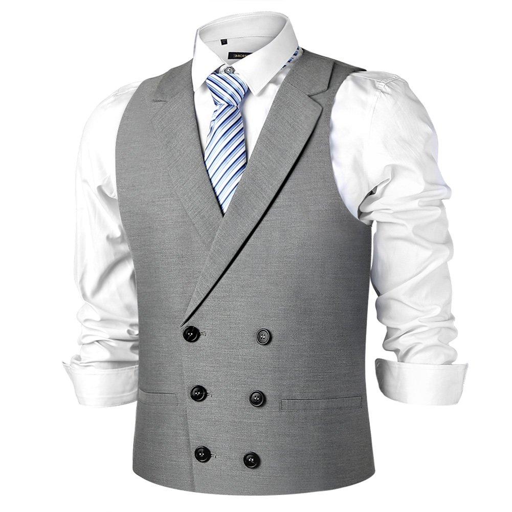 Zicac Mens Slim Fit Tailored Collar Suit Dress Vest Waistcoat