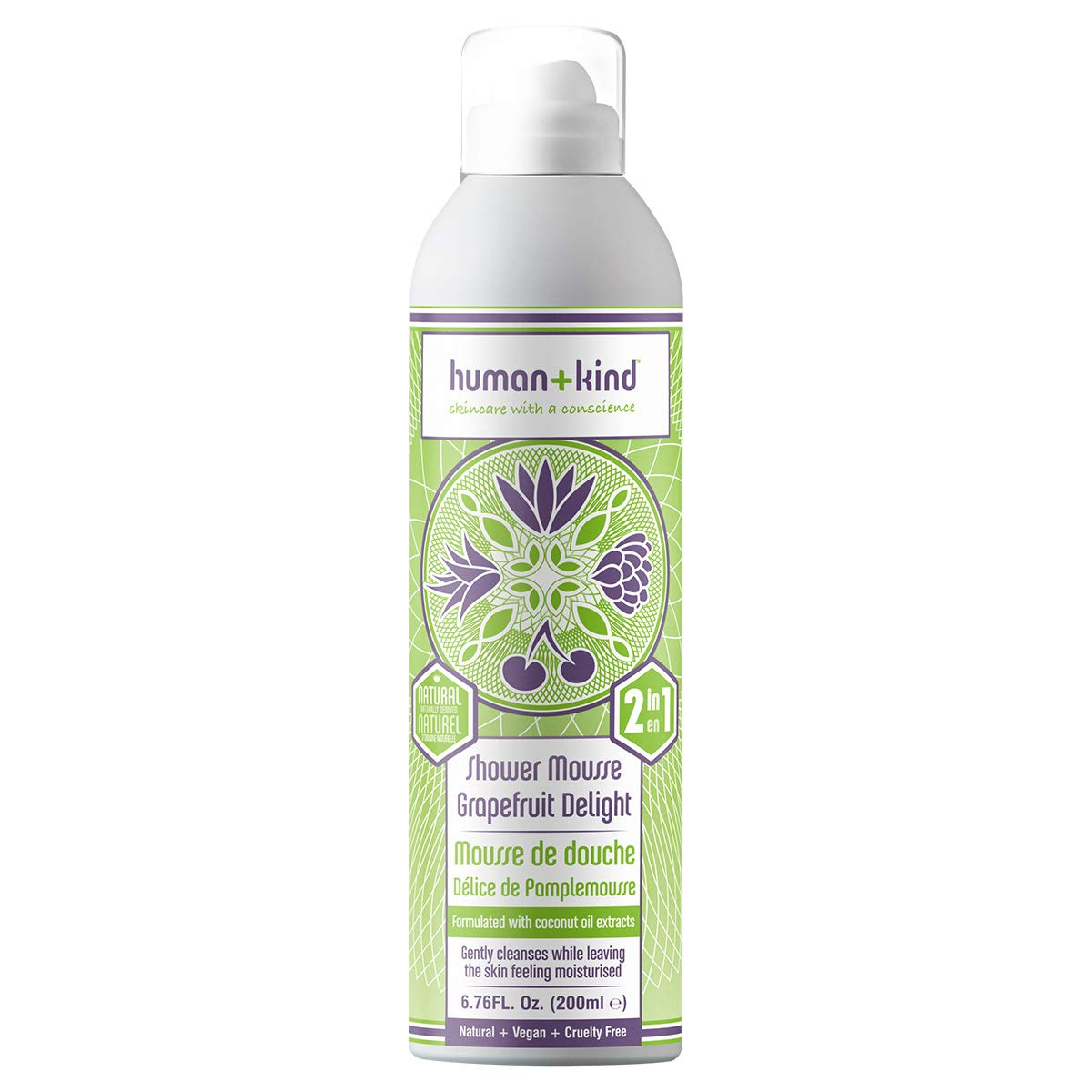 Human+Kind Shower Mousse | Lather and Cleanse Skin with Puffs of Fluffy Foam | Nourishes Dry Skin with Coconut Oil | Natural, Vegan Skin Care | Grapefruit Delight - 6.76 fl oz by Human+Kind