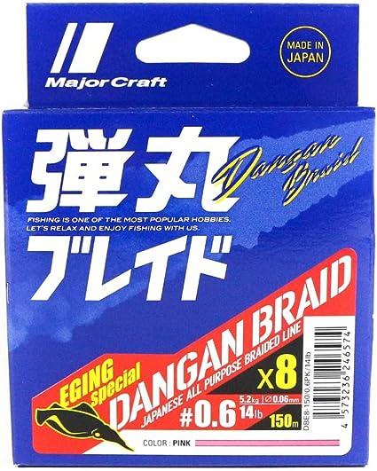 6574 Major Craft Dangan Braided Linie X8 150m P.E 0.6 Pink DBE8-150//0.6PK//14lb