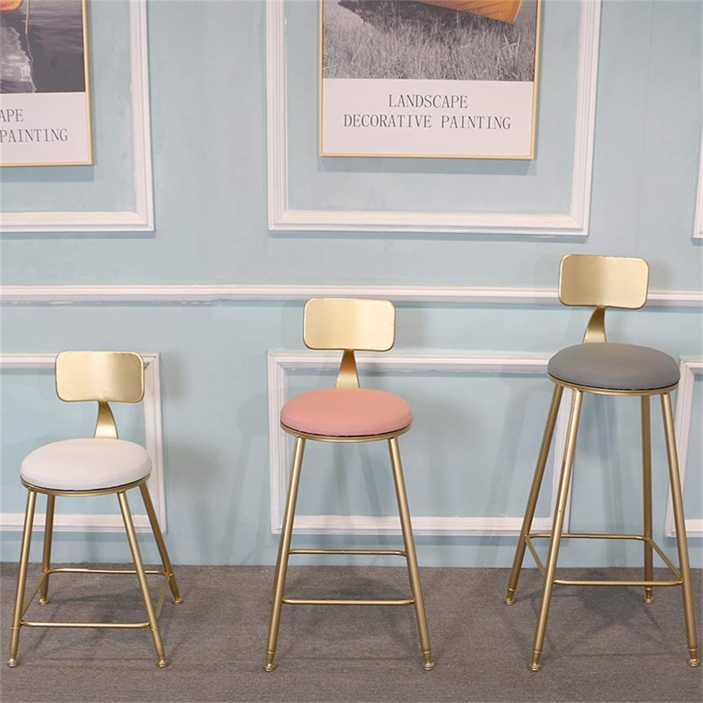 Grey Faux Leather Upholstered Bar Stools with Back Rest Counter Height Barstools with Gold Legs Metal//Iron Finish High Chair