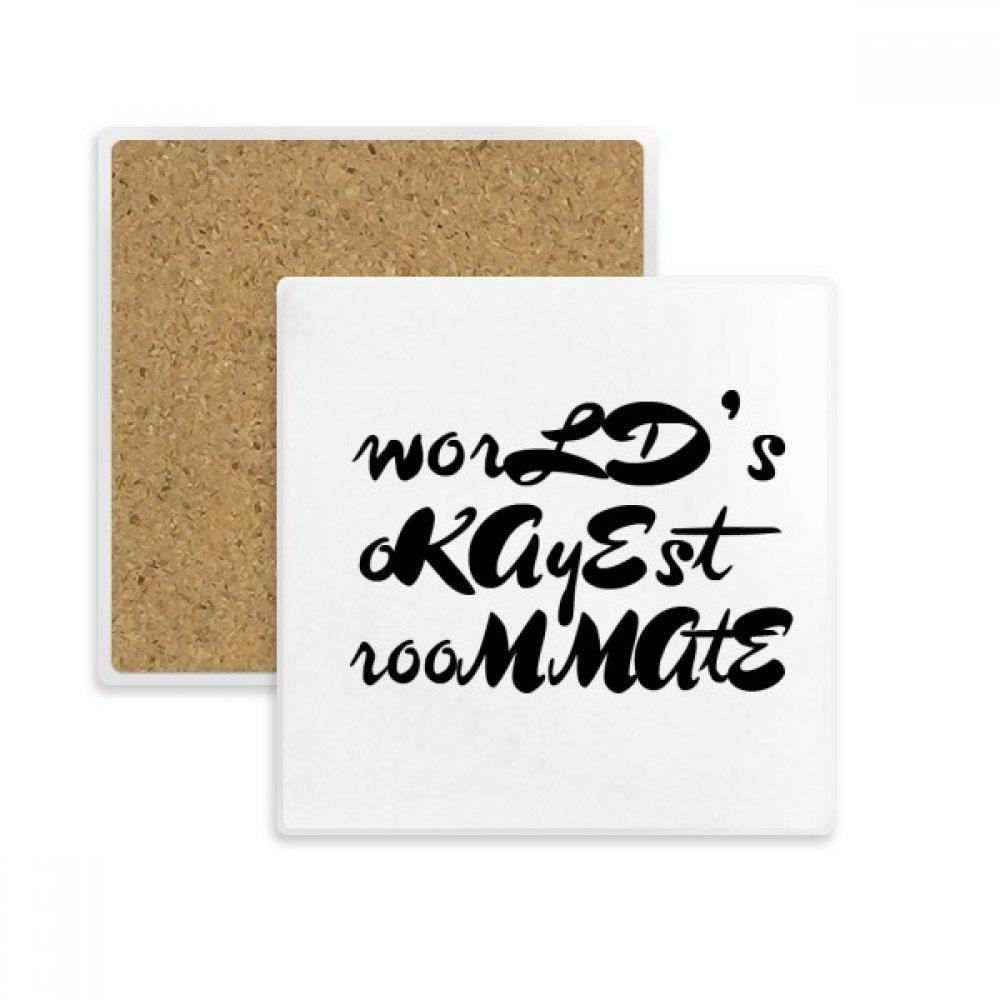 World 's Okayest Roommate卒業シーズンスクエアコースターカップマグホルダー吸収性ストーンDrinks 2個のギフト   B07B2RWDCD