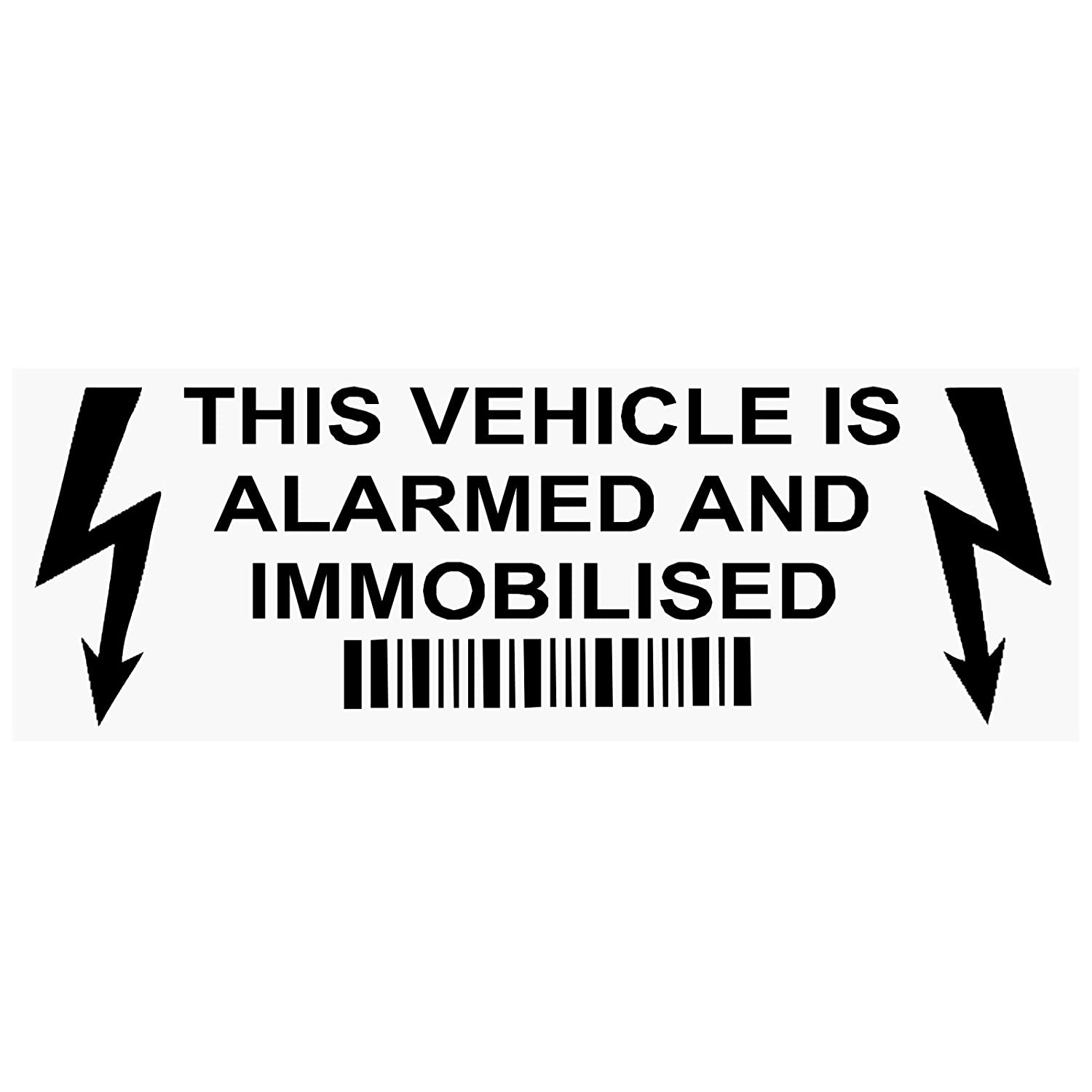 5 x Alarm and Immobiliser Fitted Stickers-BLACK-30mmx87mm-LIGHTNING DESIGN-Alarmed and Immobilised Security Warning Window Signs-Car, Van, Truck, Caravan, Motorhome, Lorry, Taxi, Minicab, Automobile Platinum Place