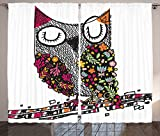 Owls Home Decor Curtains Owl Shaped By Geometric Floral Blooms Plants Patterns Colorful Artful Doodle Design Living Room Bedroom Decor 2 Panel Set
