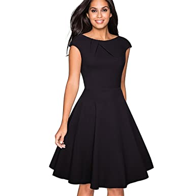Retro Simple Solid Color Elegant O-Neck Vestidos Cap Sleeve A Line Business Women Dress