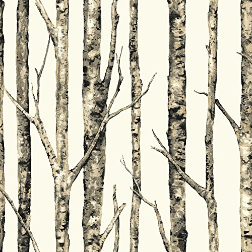 York Wallcoverings Birch Trees Removable Wallpaper, Browns, White (Birch Brown Tree)