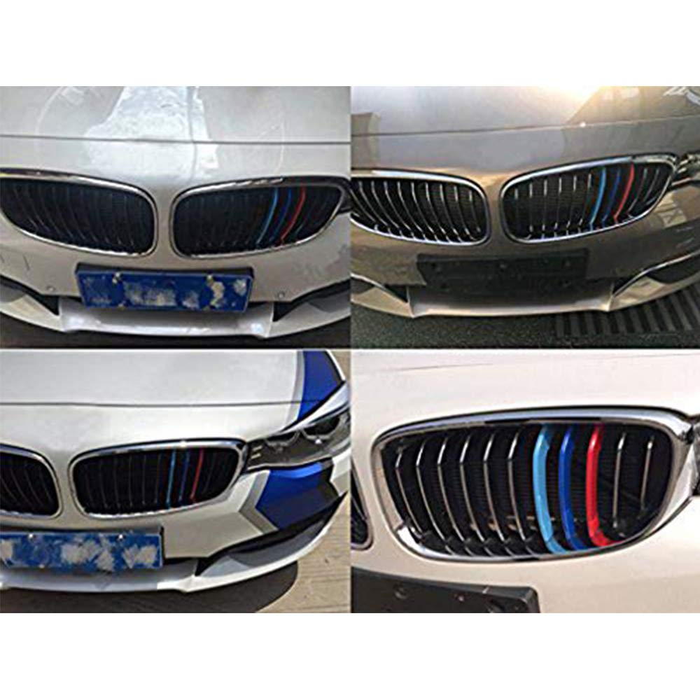 10 Grille For B M W 3 Series E46 318i 320i 325i 330i 335i 1998-2001 Inserts Kidney Grilles Hood Radiator Grill Stripes 3D M Performance Stickers Grill Cover Decoration 3Pcs