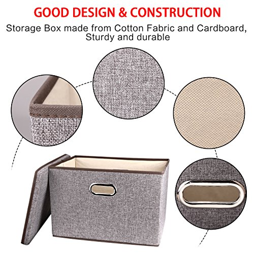 Large Linen Fabric Foldable Storage Container [2-Pack] with Removable Lid and Handles,Storage bin box cubes Organizer - Gray For Home, Office, Nursery, Closet, Bedroom, Living Room by Baseshop (Image #2)