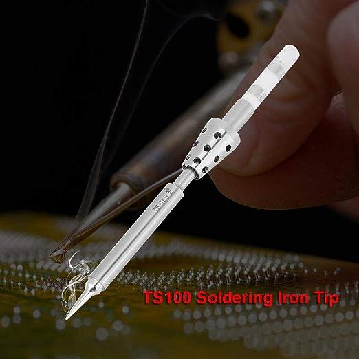 Akozon Puntas de soldar para TS100, puntas de soldador de acero inoxidable Reemplazo (TS-ILS): Amazon.es: Industria, empresas y ciencia