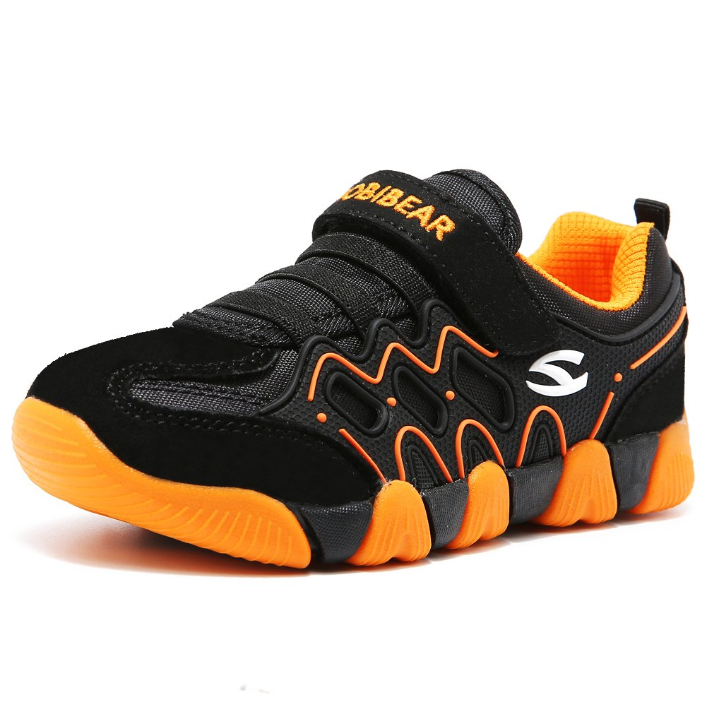 HOBIBEAR Children Outdoor Strap Athletic Sneakers Running Shoes AS3209(1M,Orange/Black)