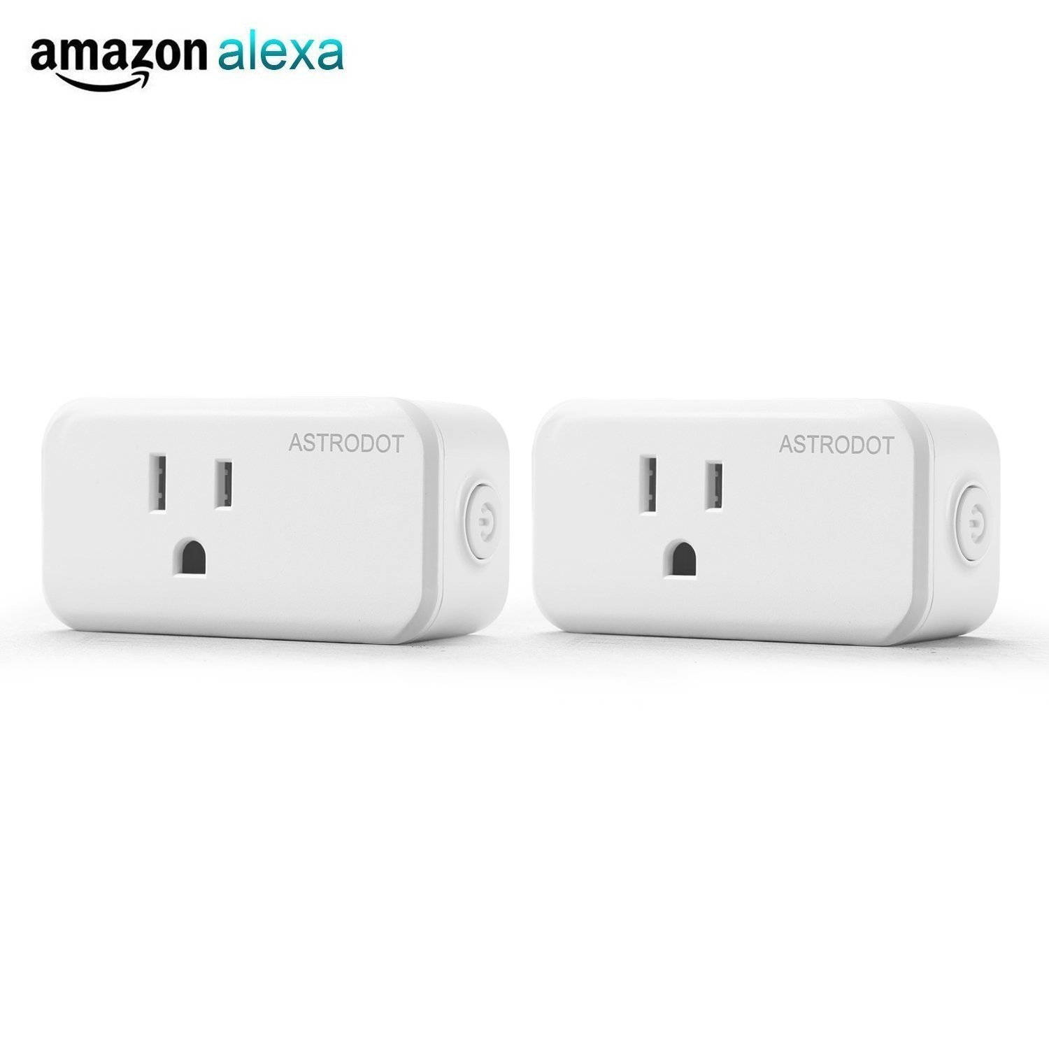 Wifi Smart Plug Mini, Astrodot Smart Home Power Control Socket, Remote Control Your Household Equipment from Everywhere, No Hub Required, Compatible with Alexa, Echo Dot & Google Home (2)