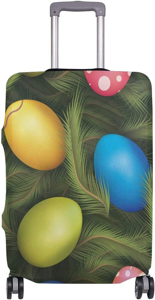Travel Luggage Cover Happy Easter Eggs Colorful Green Leaves Suitcase Protector
