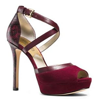 6f9277b4efc6 Michael Kors Women s Shoes Ginny Platform Dress Pumps Suede and Embossed  Leather Merlot ...