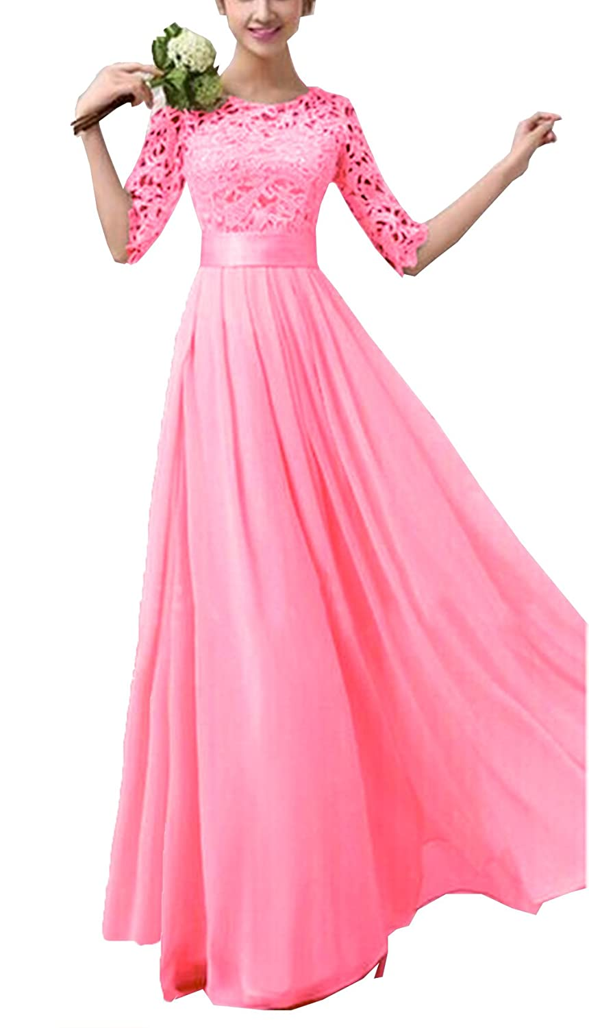 AWEIDS Women's Lace Chiffon Patchwork Prom Ball Gown Cocktail Evening Party Maxi Dress