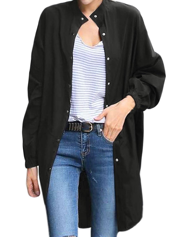 Woman Stand Collar Split Sides Round Hem Elastic Back Long Jacket