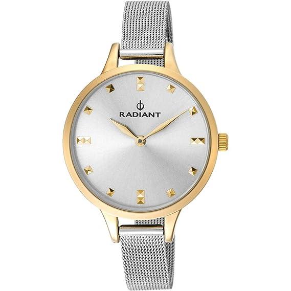 Reloj Radiant para Mujer con Correa Plateada y Pantalla en Blanco RA474602: Amazon.es: Relojes